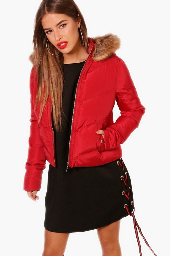 Petite Cara Padded Faux Fur Hooded Coat