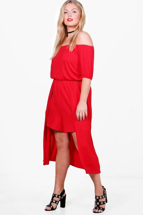 Plus Katie Off The Shoulder Playsuit