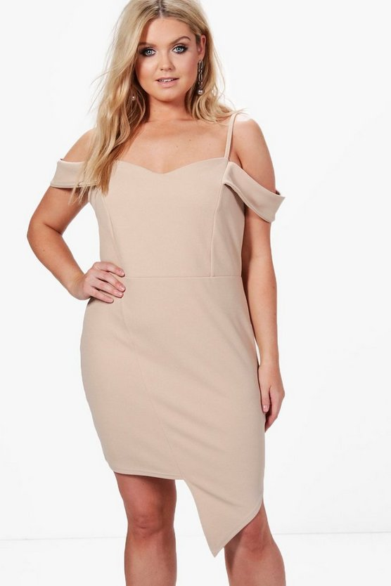 Plus Eve Off The Shoulder Asymmetric Bodycon Dress