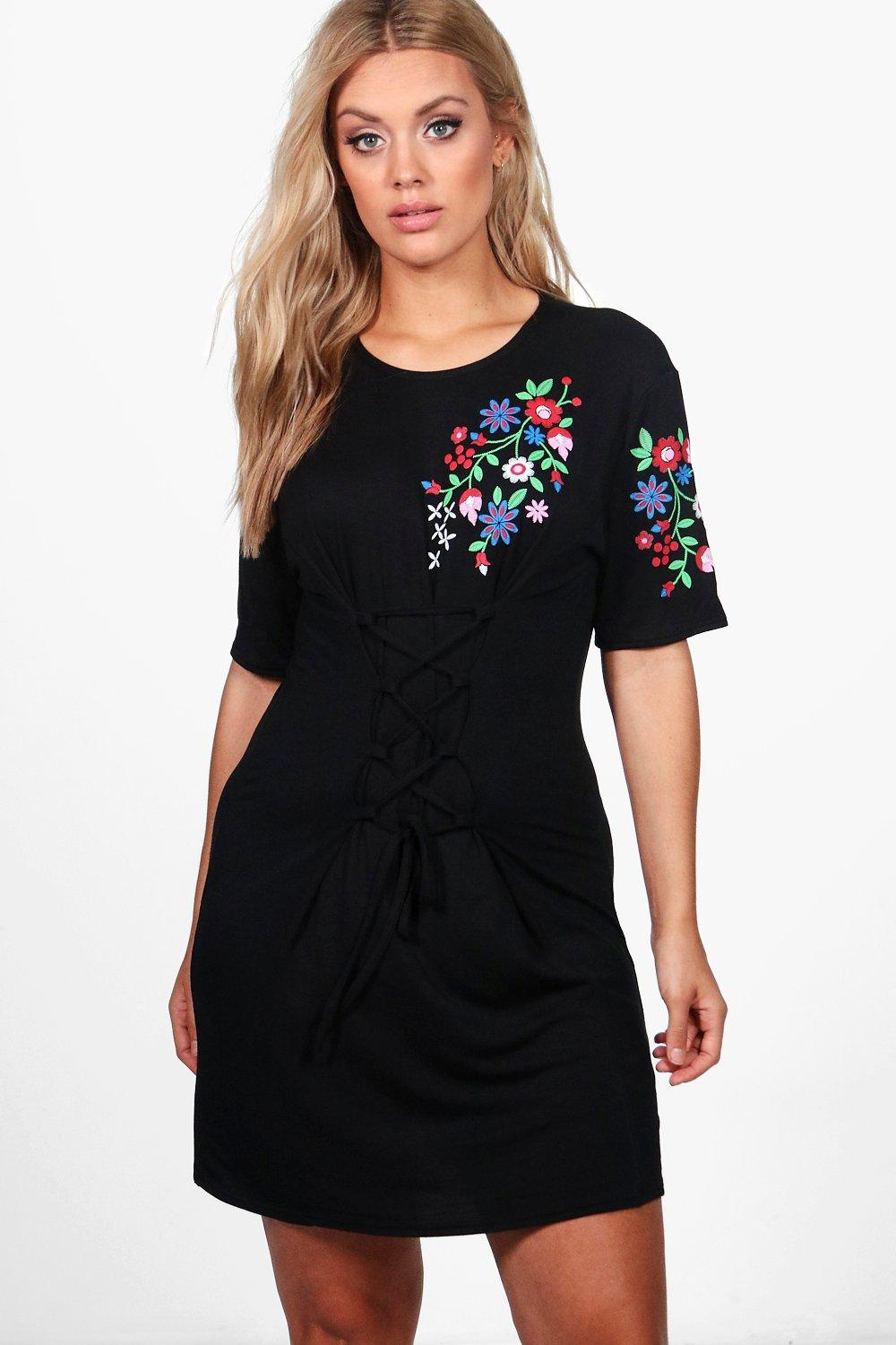 Black t shirt dress ebay - Boohoo Womens Plus Emily Embroidered Corset Detail T