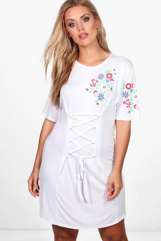 Plus Emily Embroidered Corset Detail T-shirt Dress