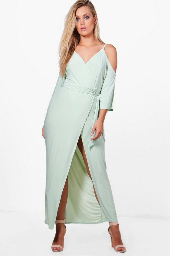 Plus Stella Open Shoulder Slinky Maxi Dress