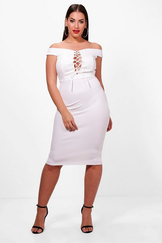 Plus Anna Off The Shoulder Lace Up Midi Dress