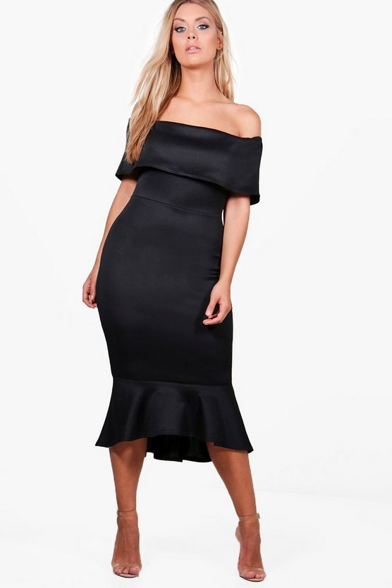 Plus Anita Off The Shoulder Peplum Midi Dress