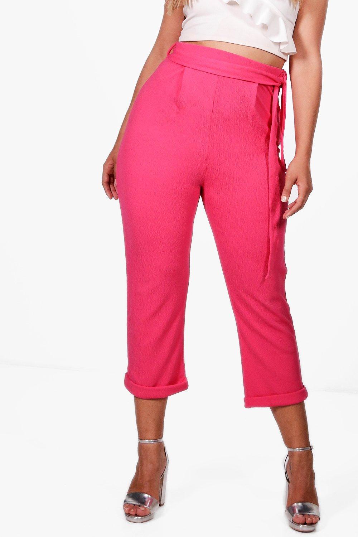 Boohoo-Plus-Jenna-Pantaloni-Con-Pieghe-E-Cintura-per-Donna
