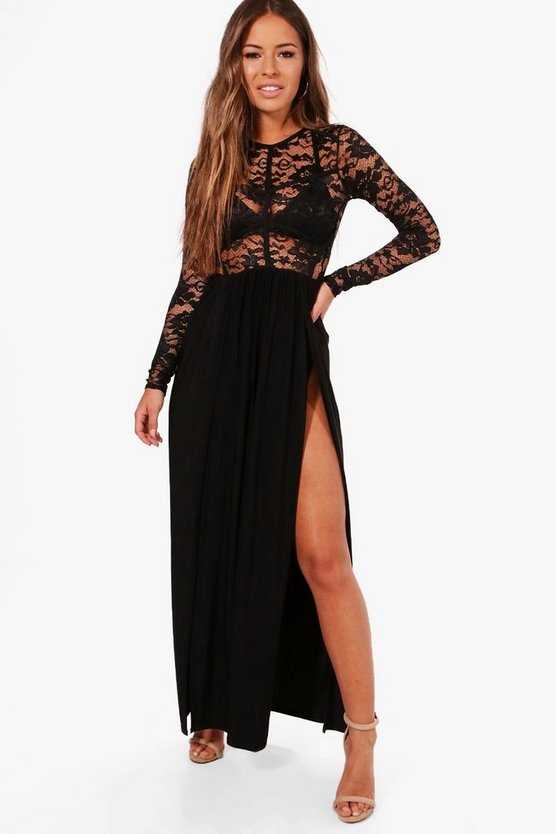 Petite Annabel Lace Panel Detail Maxi Dress