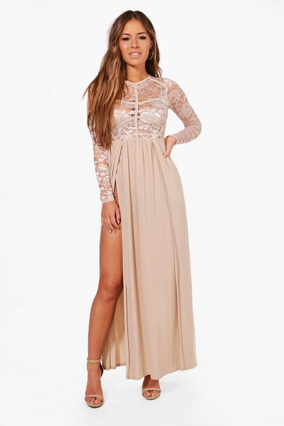 Petite Lace Panel Detail Maxi Dress