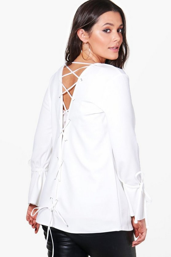 Plus Lucy Lace Up Back Tie Cuff Blazer