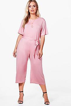 Plus Kelly Jumpsuit mit Taillenbindung und Hosenrock - Boohoo.com