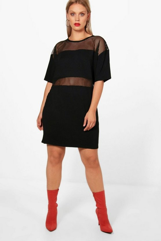 Plus Kelis Mesh Insert T-shirt Dress