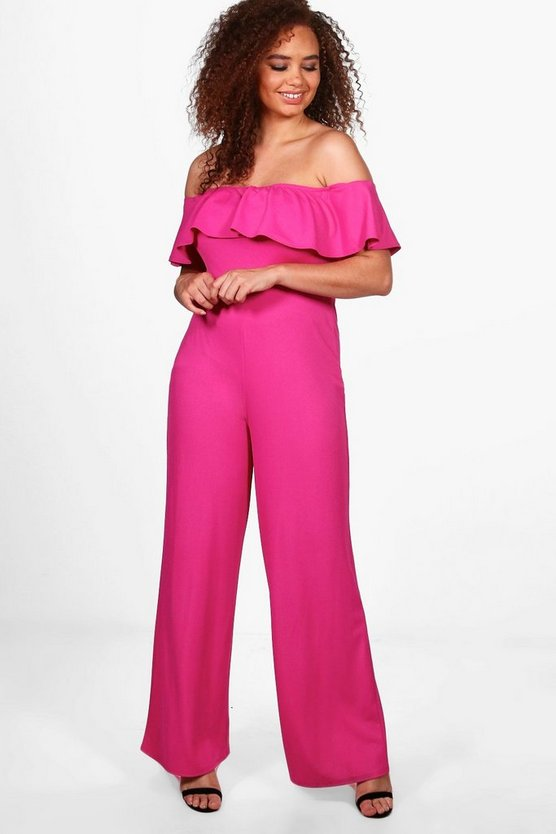 Plus Zoe Off The Shoulder Frill Wide Leg Jumpsuit