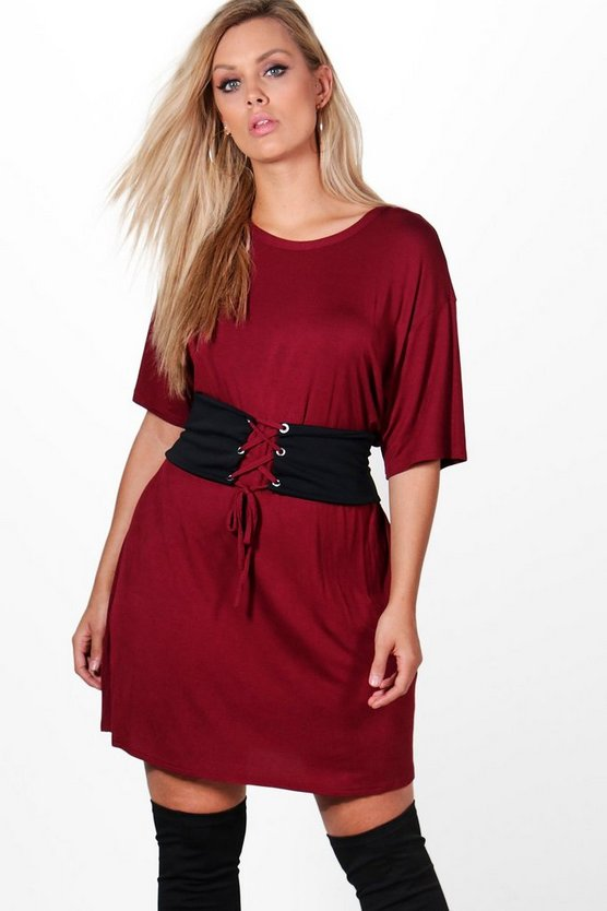 Plus Jodie Jersey Corset Detail T-shirt Dress