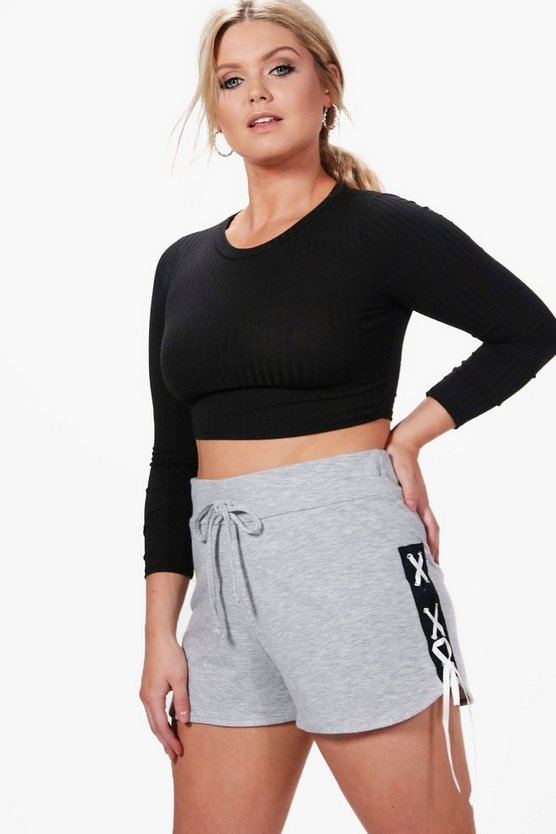 Plus Olivia Lace Up Sweat Shorts