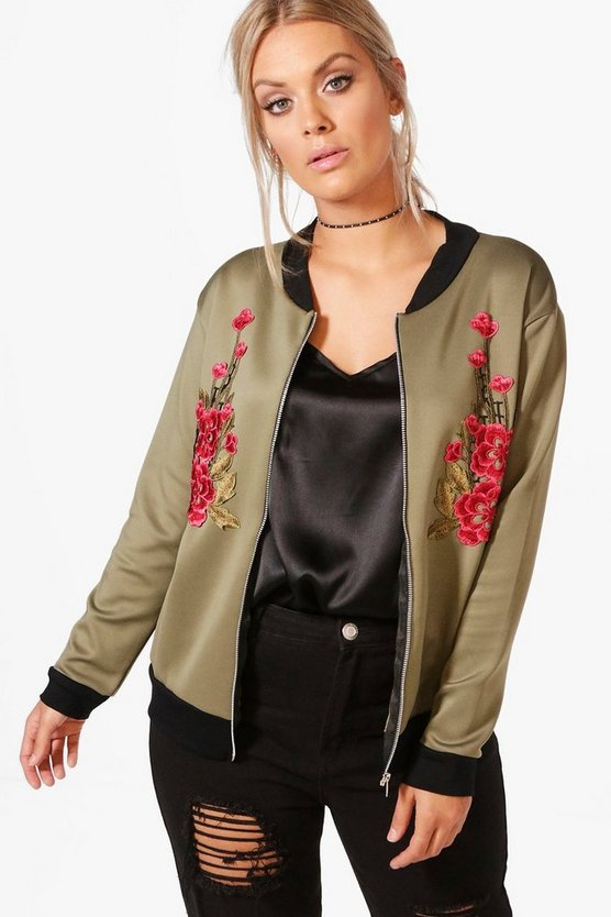 Plus Jemima Floral Applique Bomber