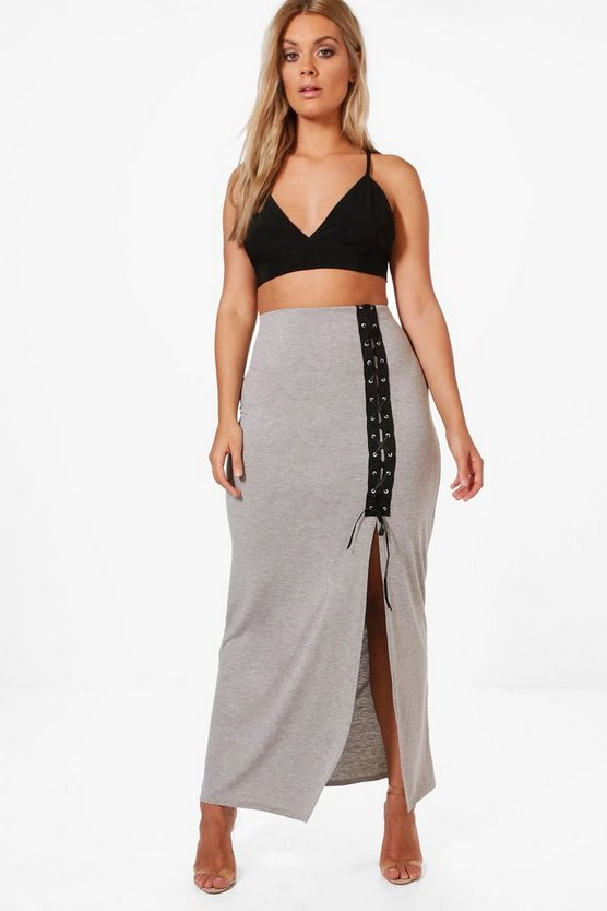 Plus Lucy Lace Up Bodycon Midi Skirt