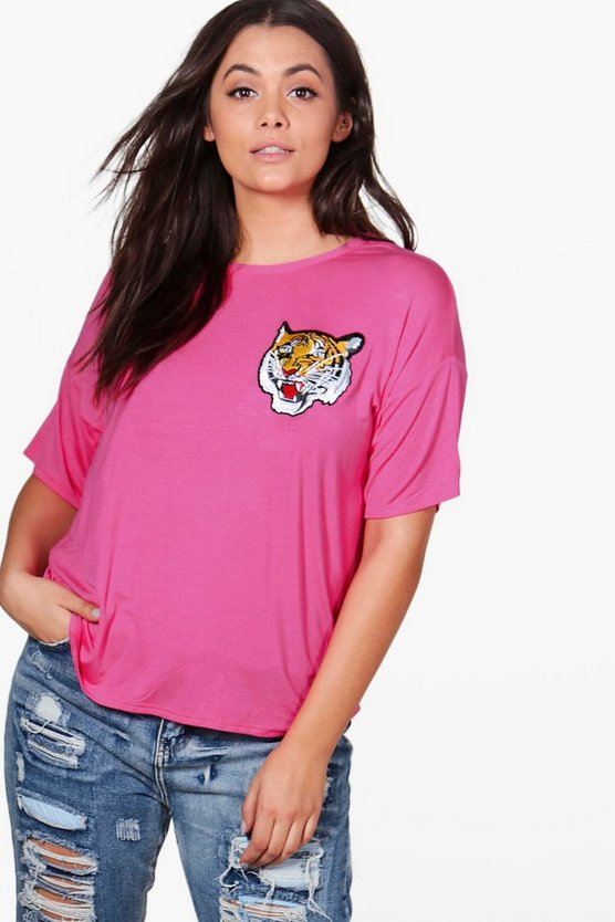 Plus Jessie Tiger Applique Basic Tee