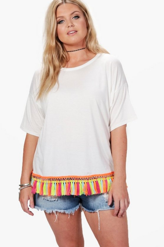 Plus Tia Tassel Trim T-Shirt