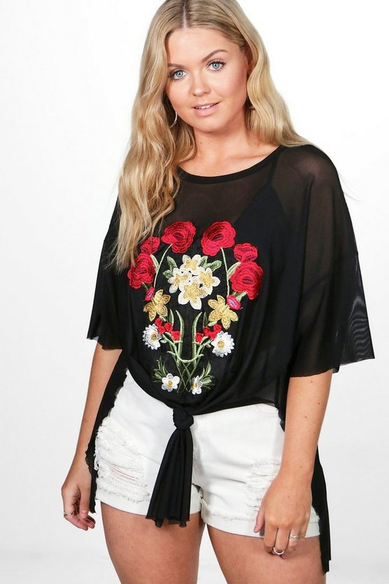 Plus Sasha Embroidered Sheer Top