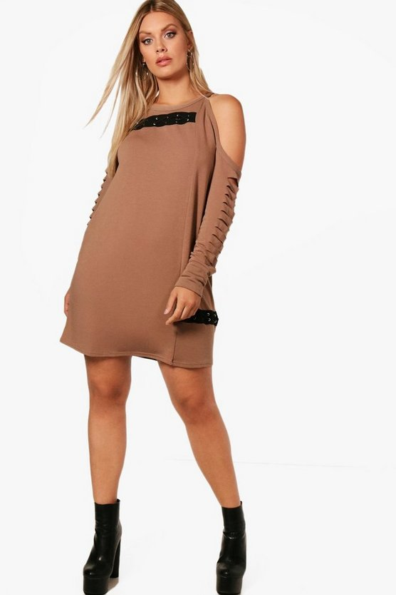 Plus Anna Open Shoulder Cross Detail Sweat Dress