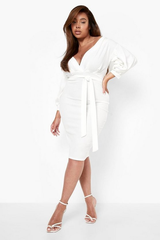 Plus Taylor Off The Shoulder Wrap Midi Dress
