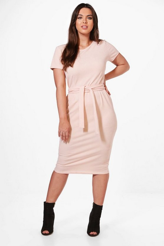 Plus Tie Waist Midi Dress