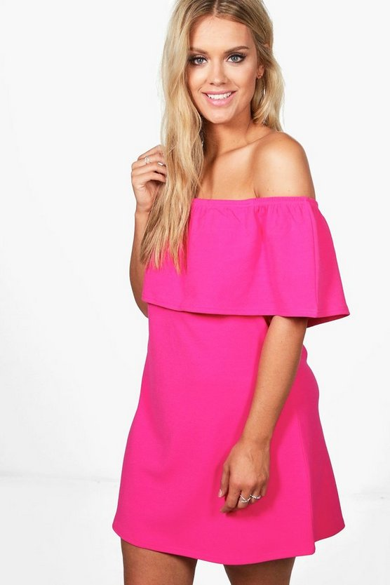 Plus Abbi Off The Shoulder Ruffle Swing Dress