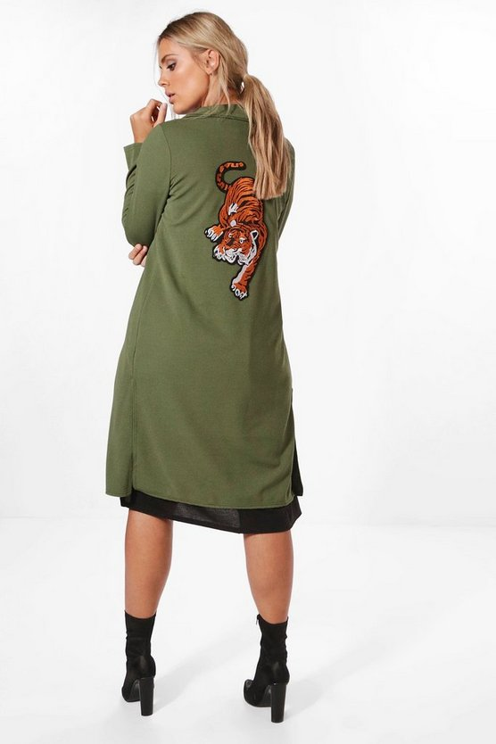 Plus Katie Tiger Embroidered Duster Coat
