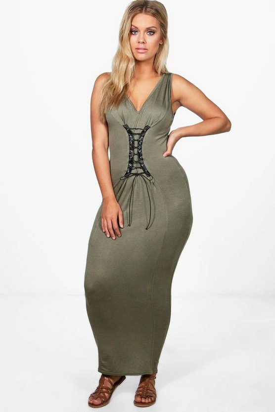 Plus Emma Lace Up Maxi Dress