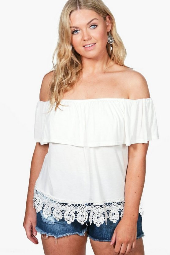 Plus Jemima Off The Shoulder Crochet Trim Top