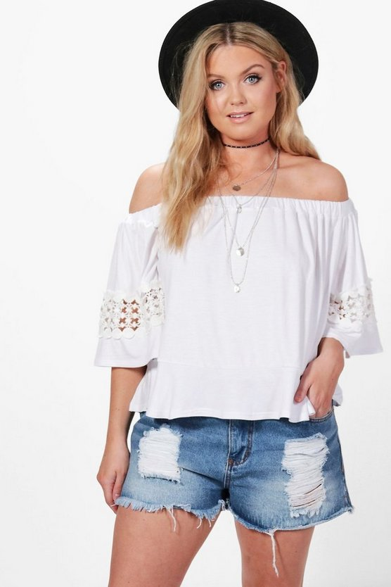 Plus Emma Off The Shoulder Crochet Top