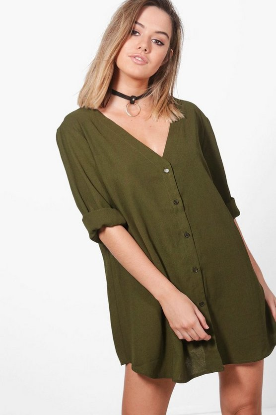 Petite V Neck Off The Shoulder Shirt Dress