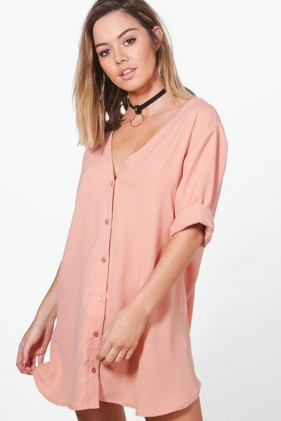 Petite Hana V Neck Off The Shoulder Shirt Dress