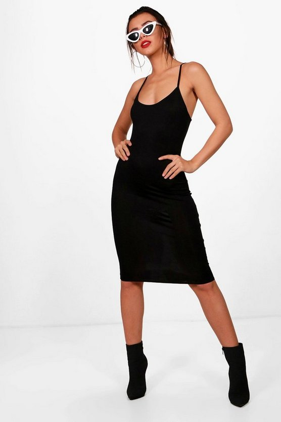 Petite Nicola Basic Bodycon Midi Dress
