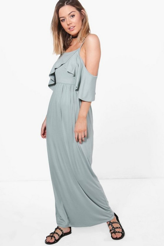 Petite Open Shoulder Maxi Dress