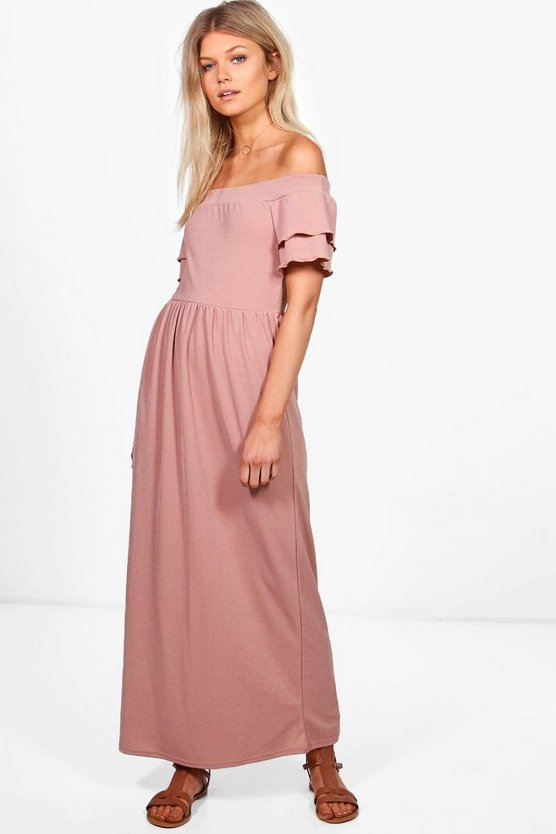 Petite Liv Off The Shoulder Ruffle Sleeve Maxi Dress
