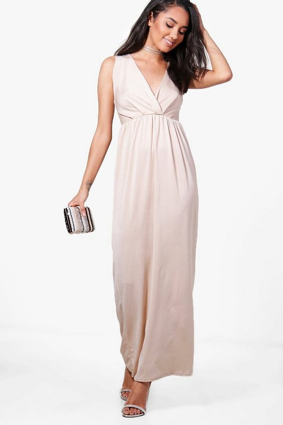 Petite Sonya Sleeveless Wrap Maxi Dress