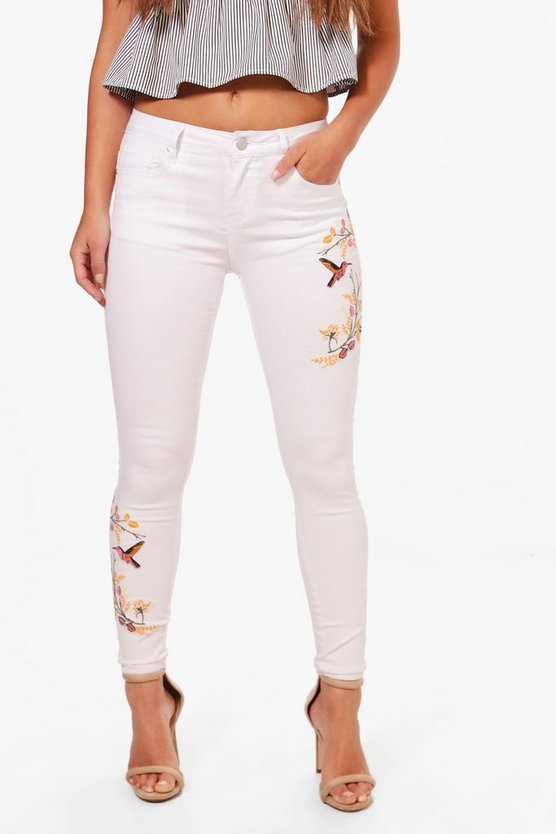 Petite Laurie Embroidered Skinny Jean