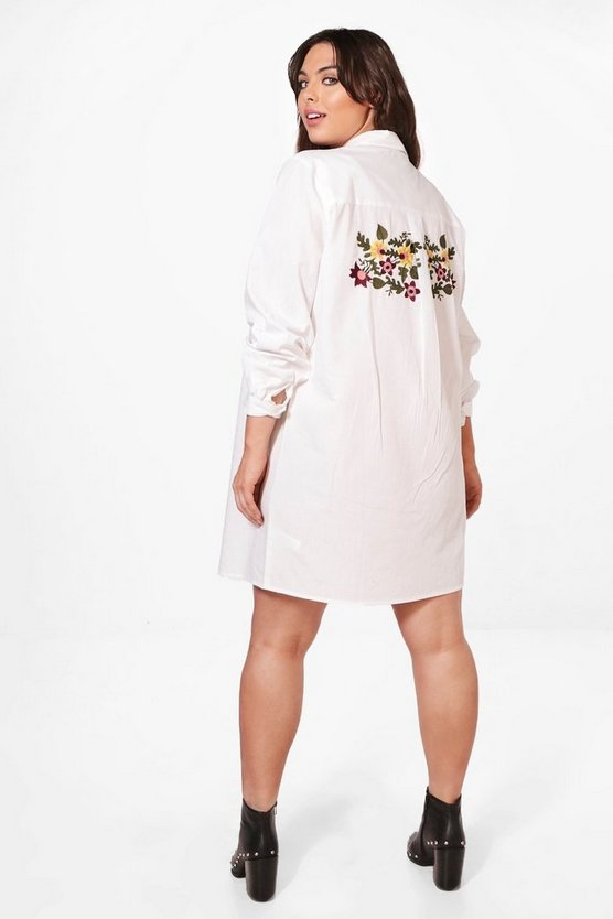 Plus Leah Embroidered Front and Back Shirt Dress