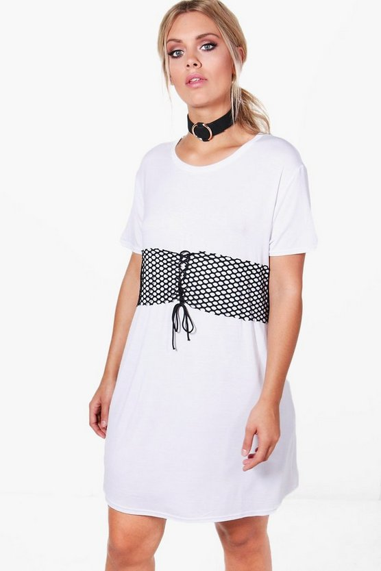 Plus Chrissie Net Corset Detail T-shirt Dress
