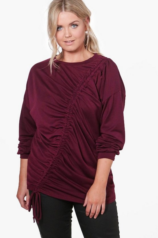Plus Orla Ruched Front Detail Oversized Sweat Top