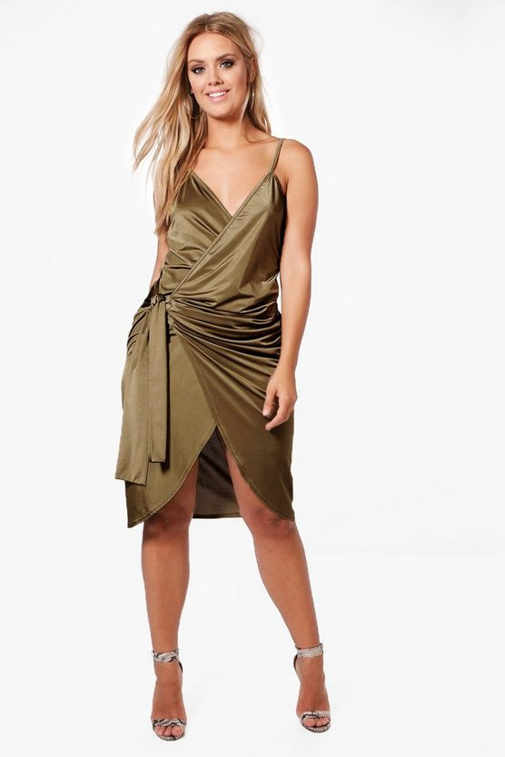 Plus Ava Slinky Strappy Knot Wrap Midi Dress
