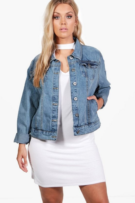 Plus Hannah Rip Detail Denim Jacket