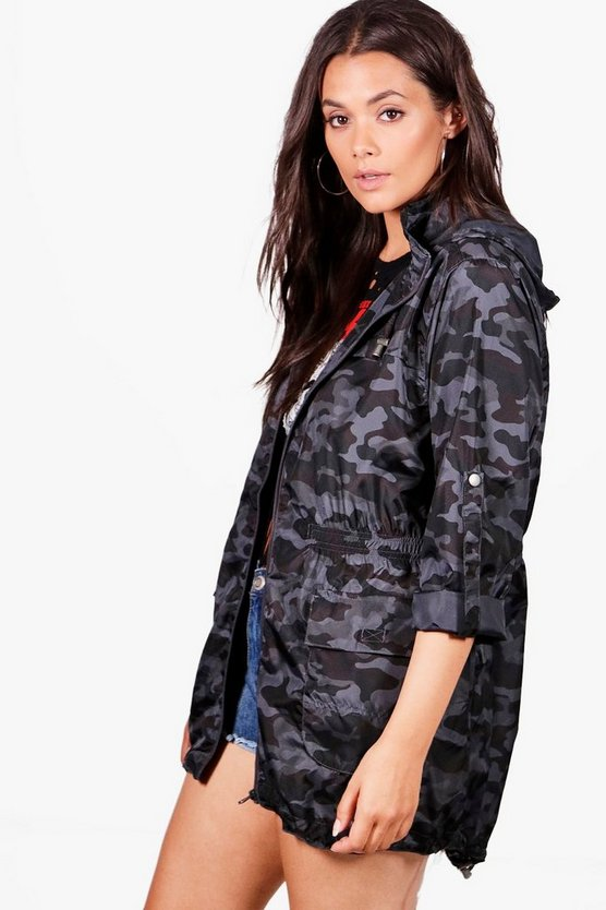 Plus Becca Camo Hooded Mac
