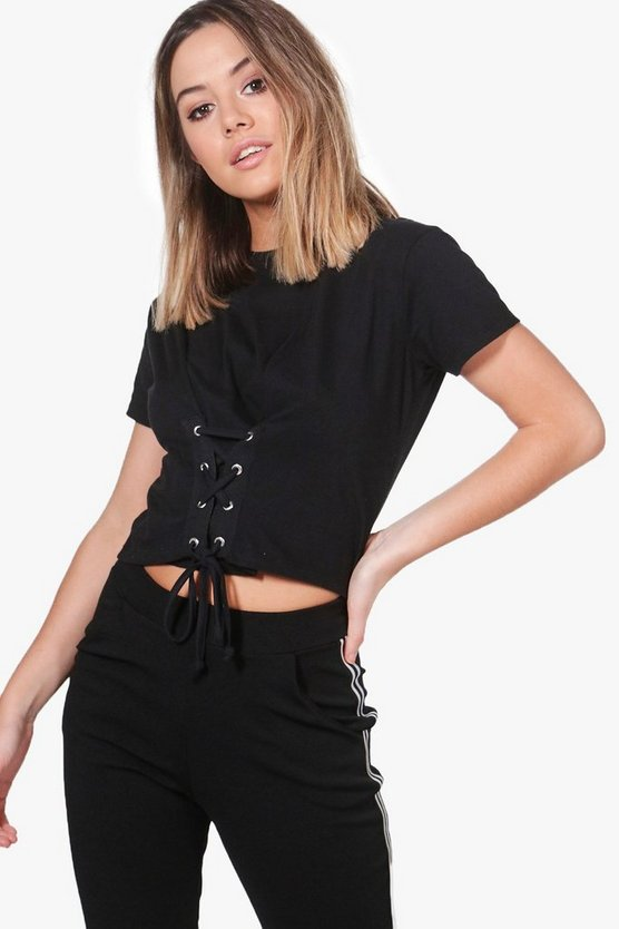 Petite Charlotte Lace Up Tee