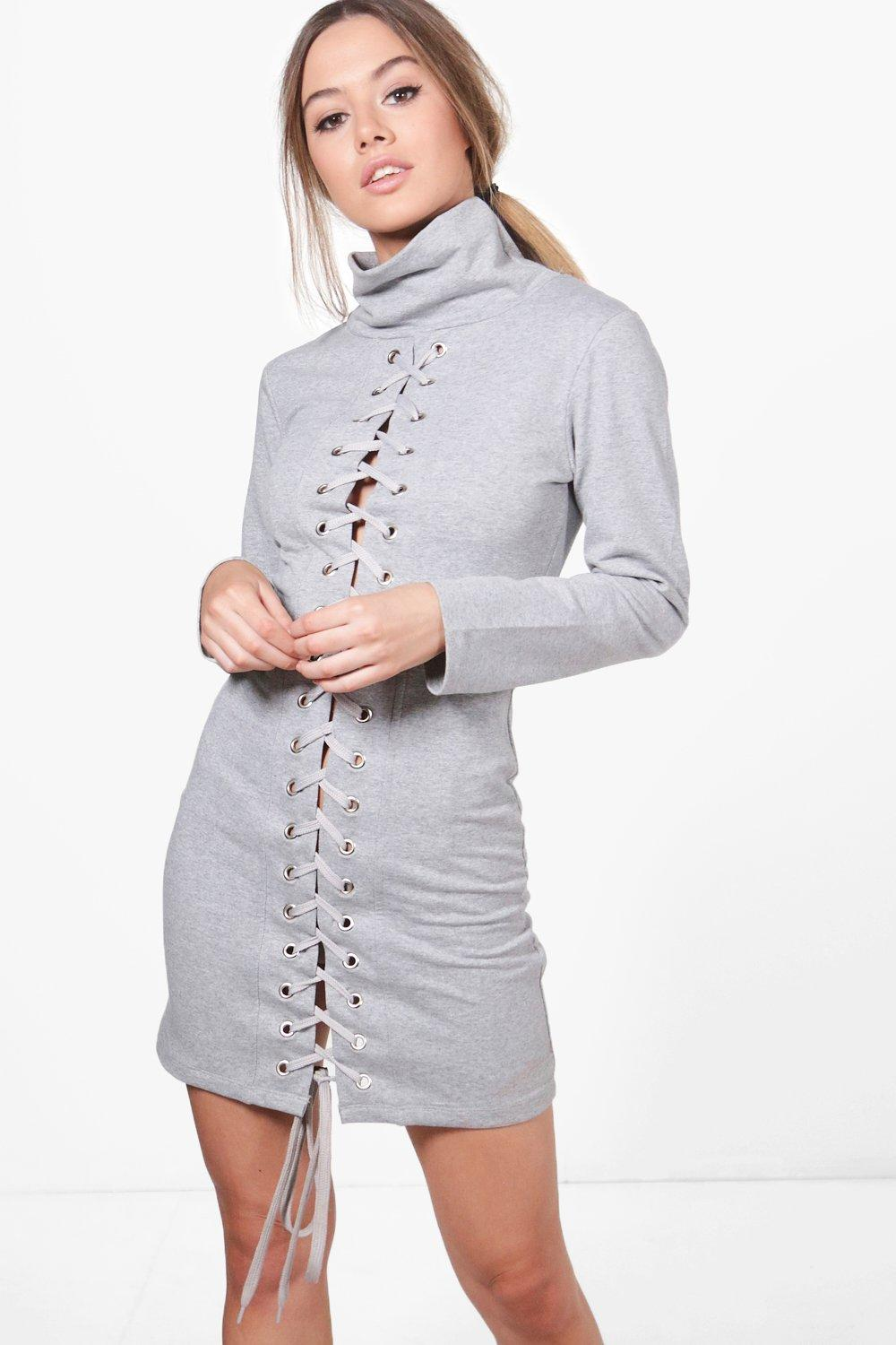 NEW-Boohoo-Womens-Petite-Emma-High-Neck-Lace-Up-Detail-Sweat-Dress-in