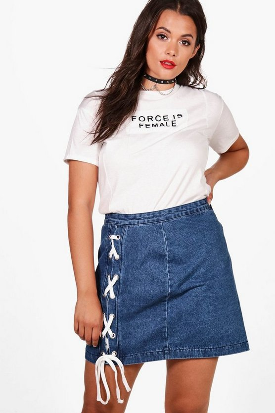 Plus Marie Lace Up Denim Mini Skirt
