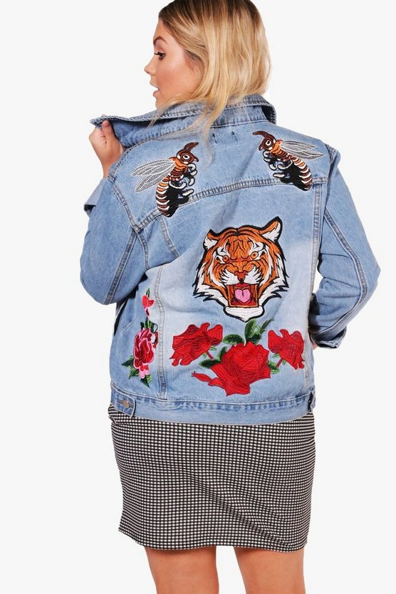 Plus Olivia Tiger Badge Detail Denim Shacket