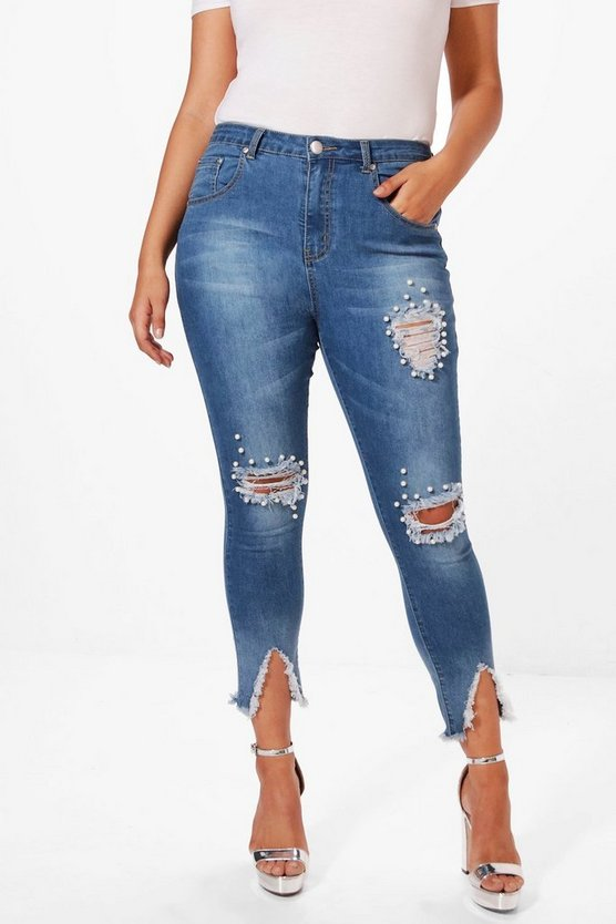 Plus Ripped Knee Pearl Detail Skinny Jean