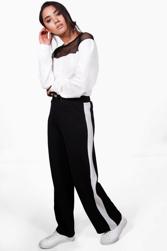Petite Eve Contrast Panel Wide Leg Relaxed Trouser