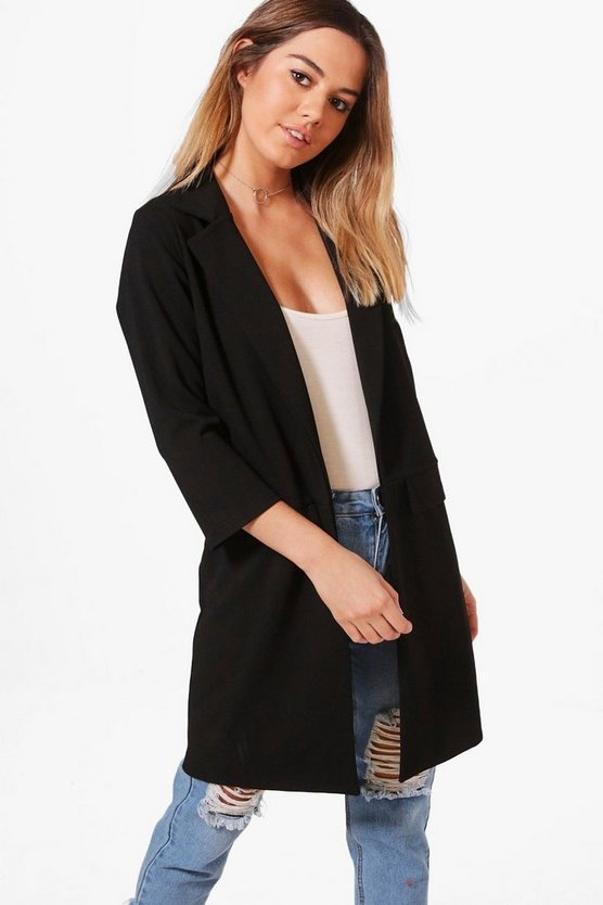 Petite Liz Zip Pocket Turn Up Boyfriend Blazer